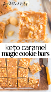 pinterest image for loaded caramel magic cookie bars