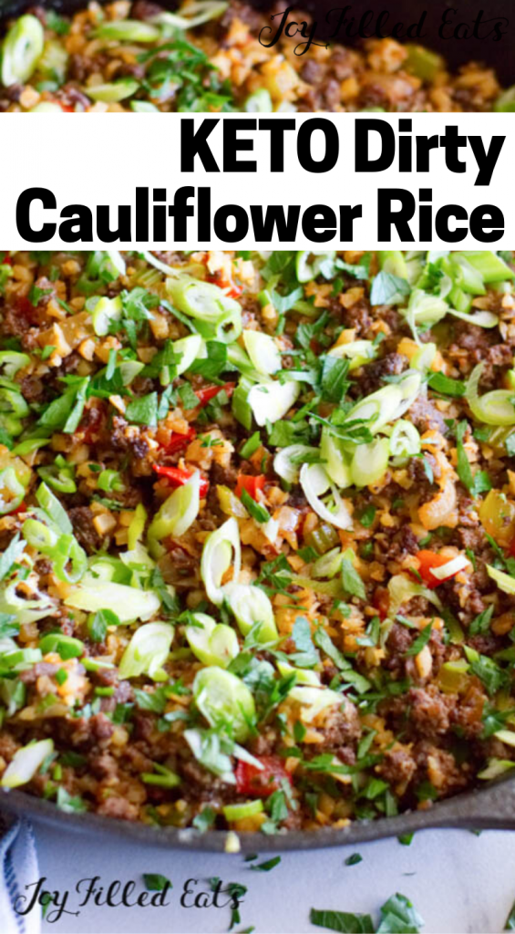 pinterest image for keto dirty cauliflower rice