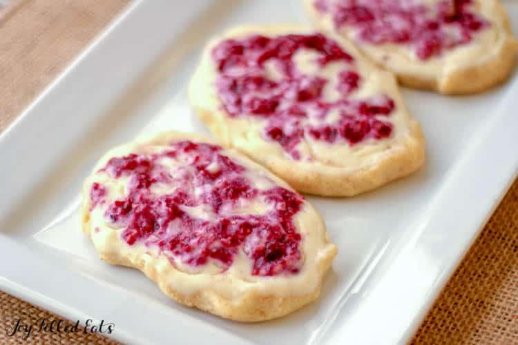 White rectangular tray of Raspberry Cream Cheese Danishes
