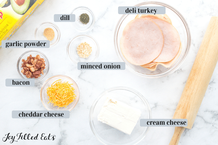 ingredients for the turkey bacon ranch pinwheels