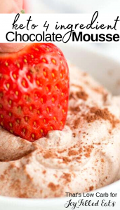 pinterest image for 4 ingredient keto chocolate mousse