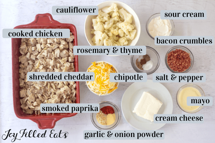 individual ingredients in small bowls including cauliflower, sour cream, bacon crumbles, rosemary & thyme, shredded cheddar cheese, cream cheese, mayo, salt & pepper, and smoked paprika, garlic & onion powder