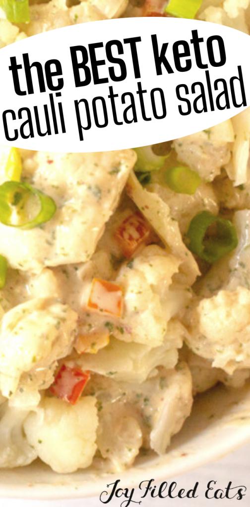 pinterest image for keto spicy cauliflower potato salad