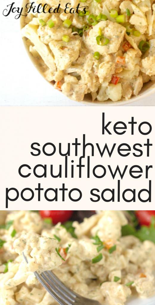 pinterest image for keto southwest cauliflower potato salad