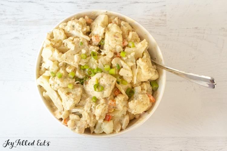 white bowl full of southwest cauliflower salad