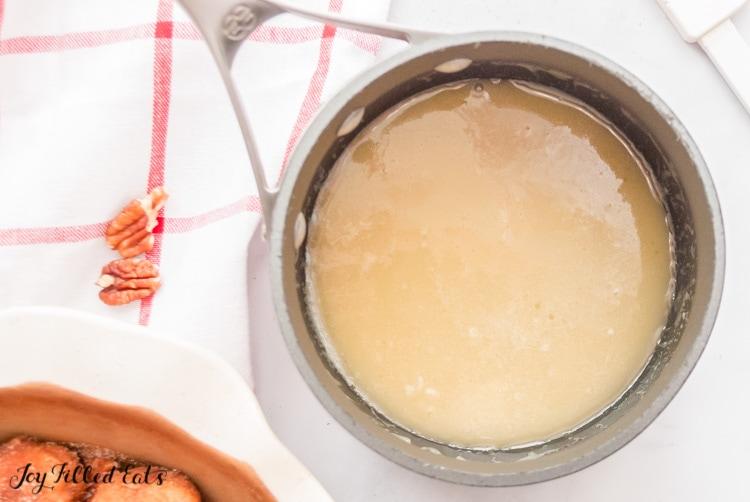 saucepan of caramel sauce