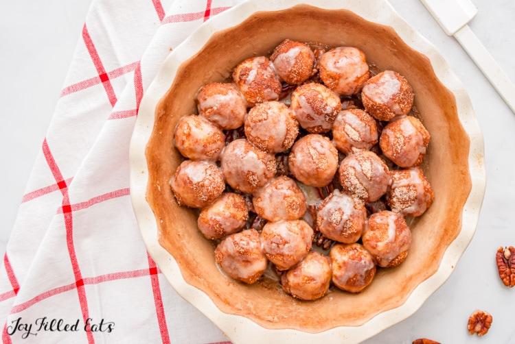 keto gorilla bread dough balls with caramel sauce