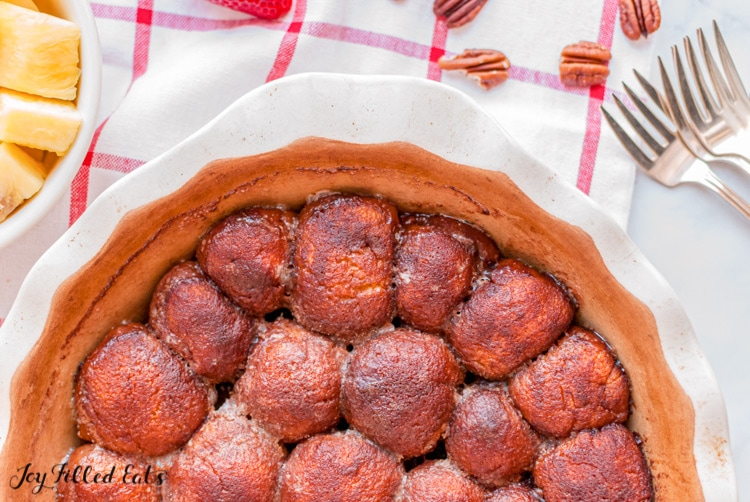 baked monkey bread in a pie plate