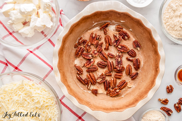 pie plate with pecans