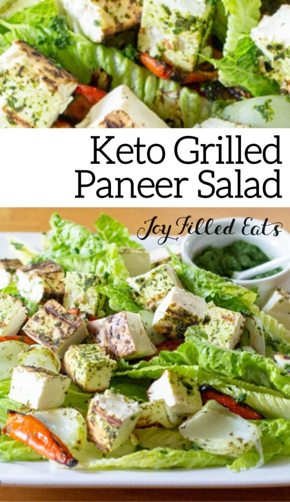pinterest image for keto grilled paneer salad