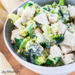 bowl of keto chicken alfredo close up