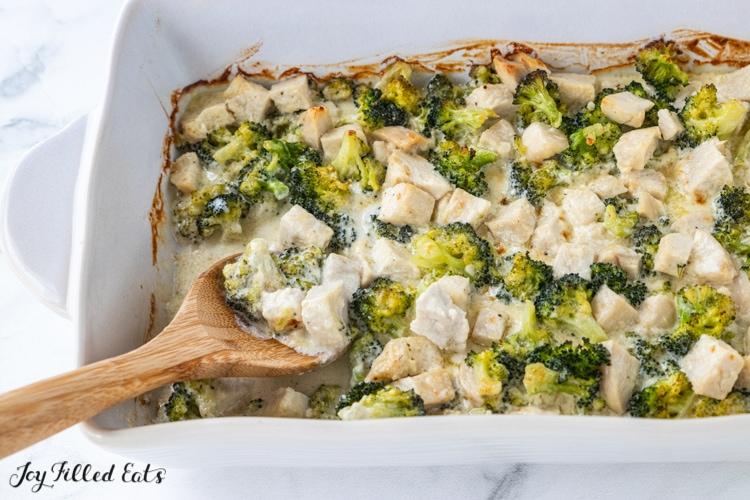 casserole dish of low carb chicken alfredo bake
