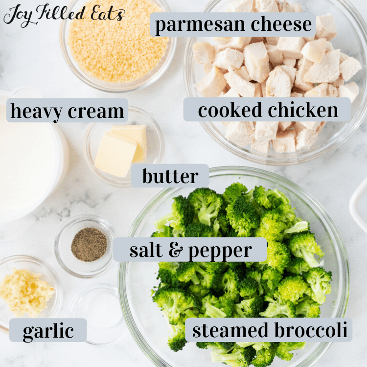 bowls of ingredients for Chicken Broccoli Alfredo