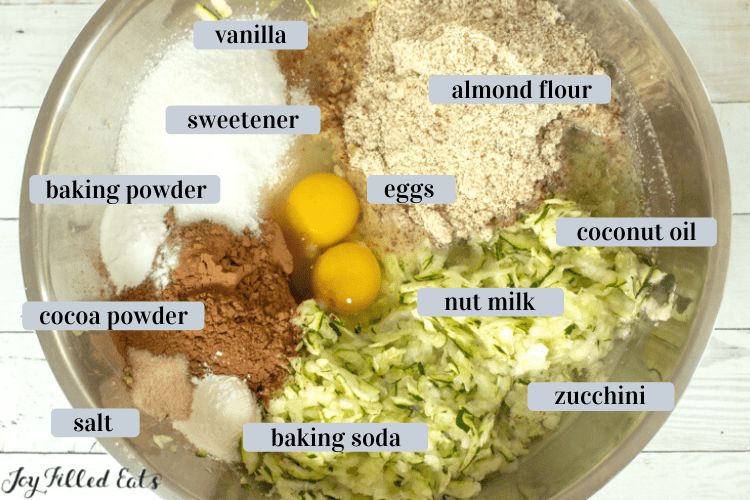 large bowl of ingredients for the chocolate cake