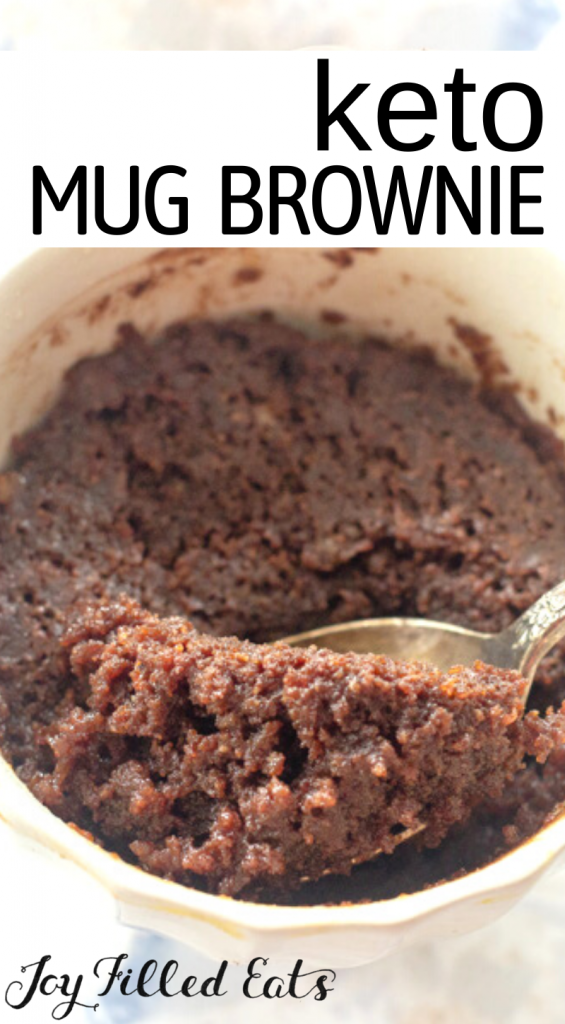 pinterest image for keto 3 minute mug brownie