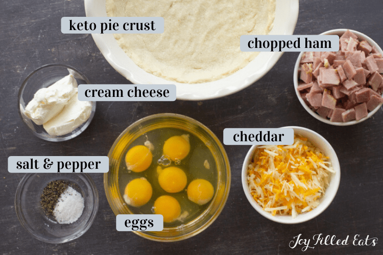 bowls of ingredients for a keto quiche including a keto pie crust, chopped ham, cheddar cheese, eggs, cream cheese and salt & pepper