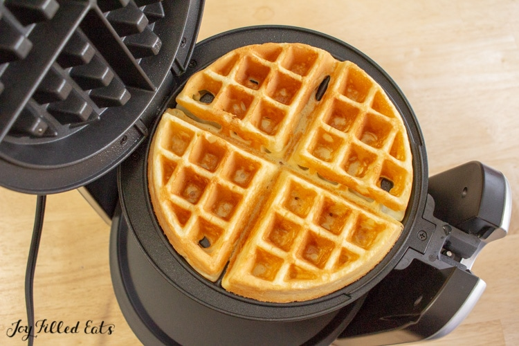 one of the low carb waffles in the waffle maker