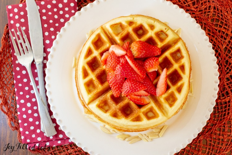 overhead shot of the waffles topped with strawberries