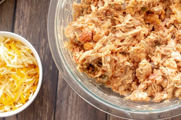 overhead view of two bowls, one with shredded chicken and a small one with shredded cheese