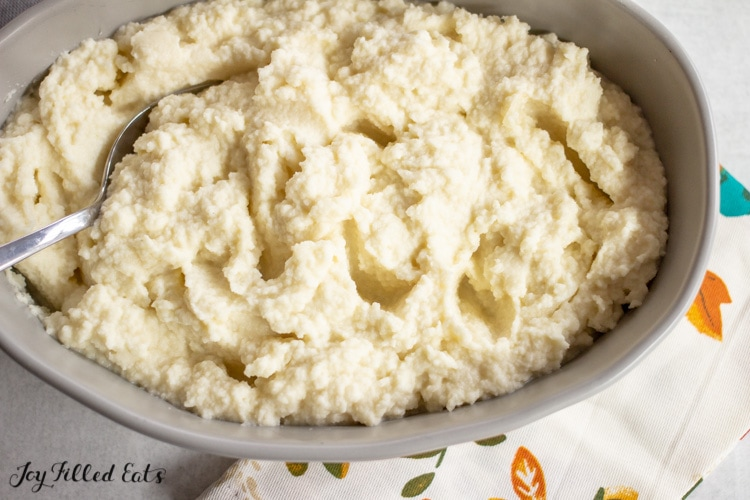 close up of the keto cauliflower mash