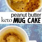 pinterest image for keto peanut butter mug cake