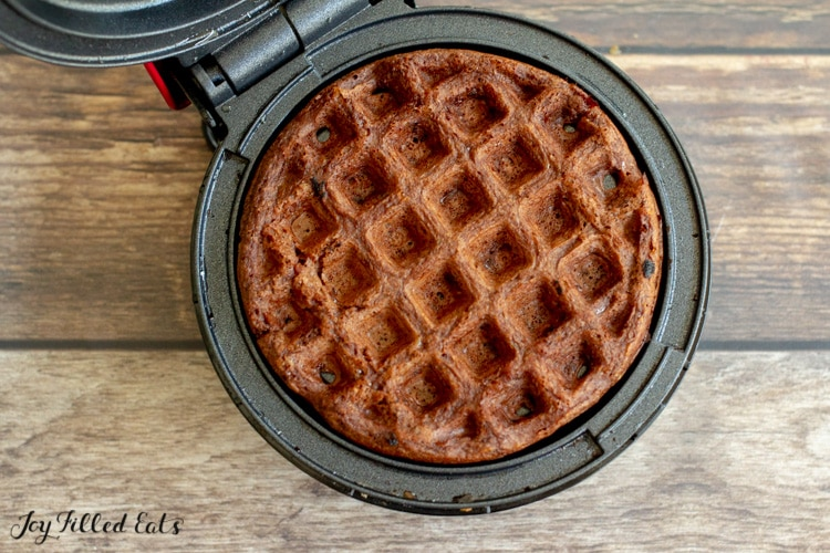 cooked waffle on a small waffle iron