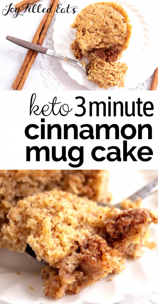 pinterest image for keto cinnamon mug cake
