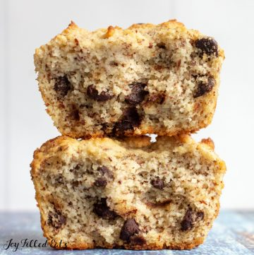 two muffin halves stacked on top of each other