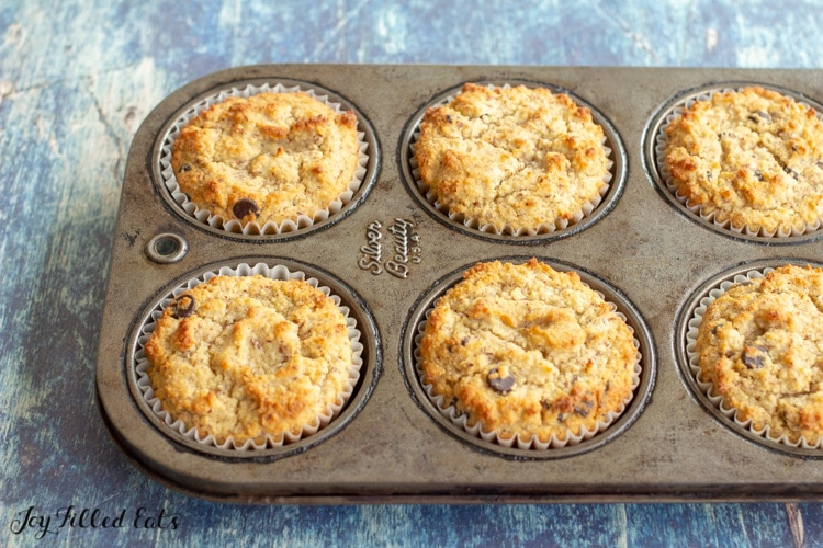 baked keto chocolate chip muffins in a cupcake pan