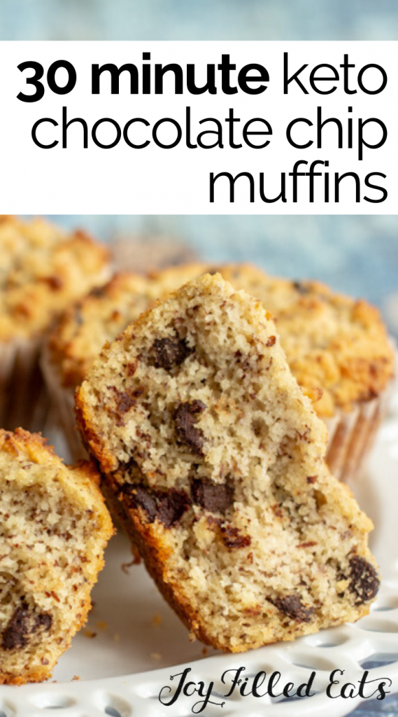 pinterest image for keto chocolate chip muffins