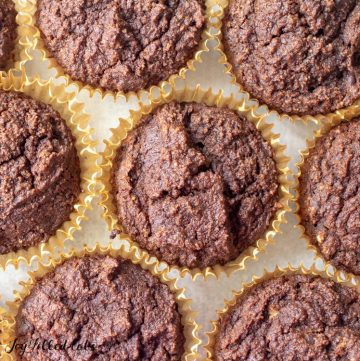 overhead shot of keto chocolate muffins in cupcake liners