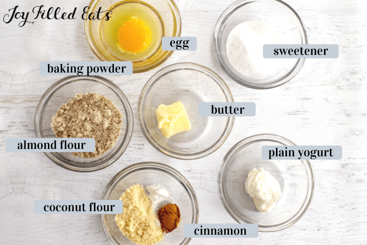 small bowls of ingredients: almond flour, coconut flour, sweetener, egg, butter, yogurt