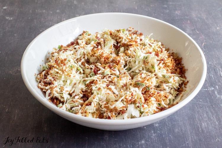 large bowl of keto coleslaw