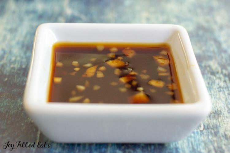 small square dish of keto teriyaki sauce