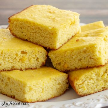almond flour cornbread piled up on a plate