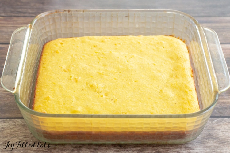 baked almond flour cornbread in an 8 by 8 dish