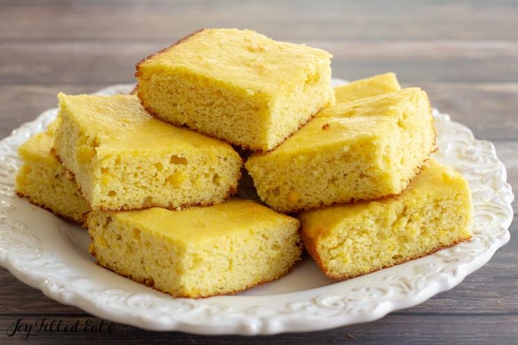 almond flour cornbread piled up on a plate
