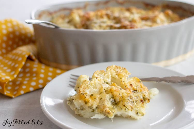 plate with a serving of baked cauliflower gratin