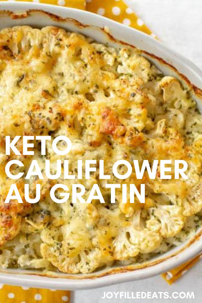 pinterest image for Keto Cauliflower Au Gratin