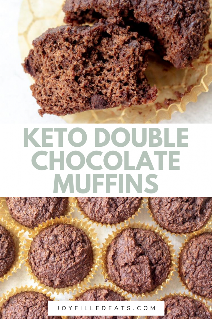 pinterest image for keto chocolate muffins