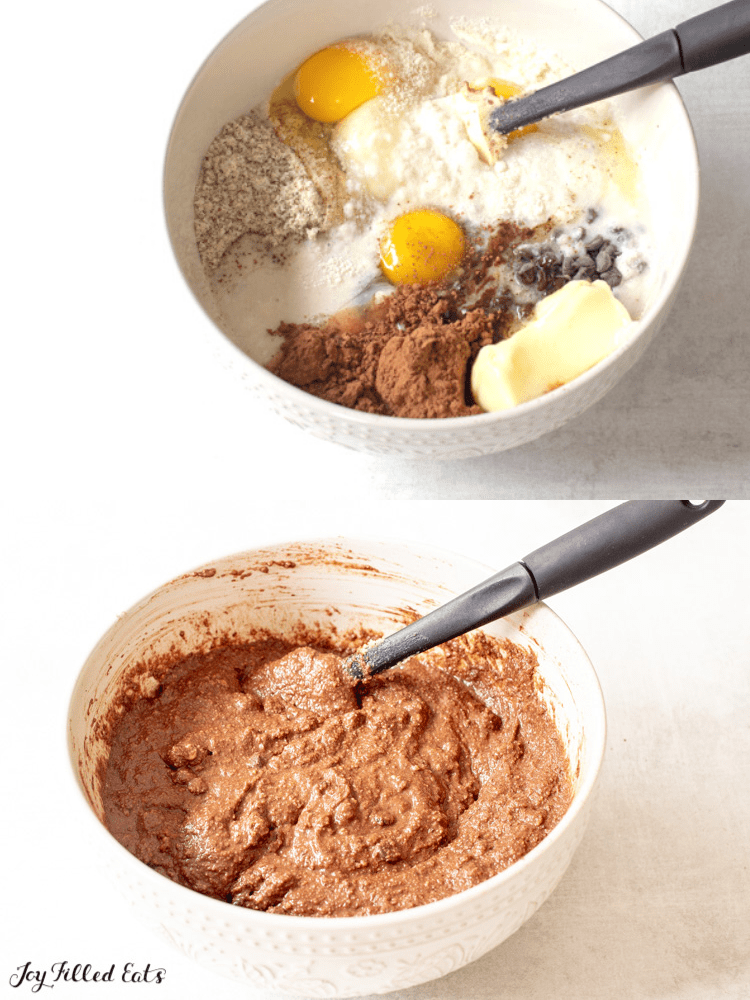 one photo of ingredients in a white bowl above a second photo with batter in the bowl
