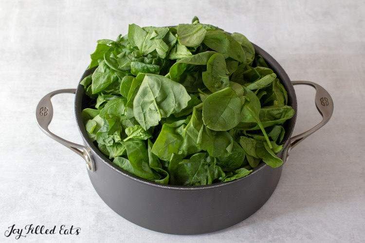 pot overflowing with baby spinach