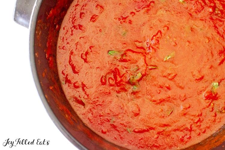 large pot of keto marinara sauce