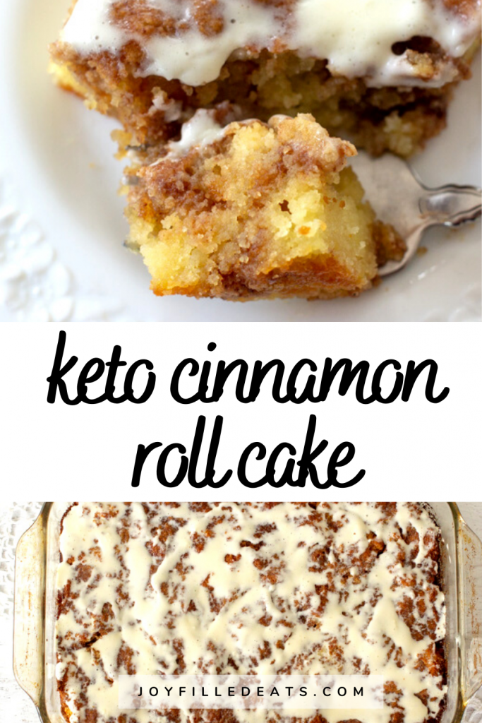 pinterest image for low carb cinnamon roll cake