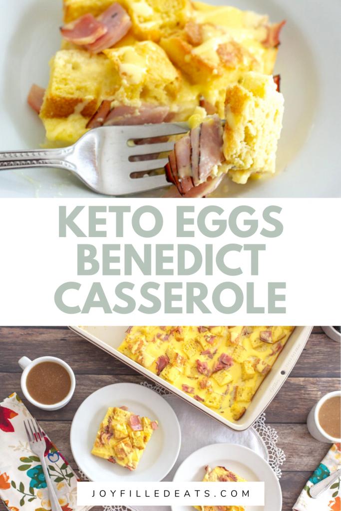 pinterest image for keto eggs benedict casserole