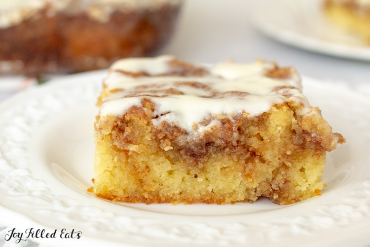 close up of a piece of low carb cinnamon roll cake