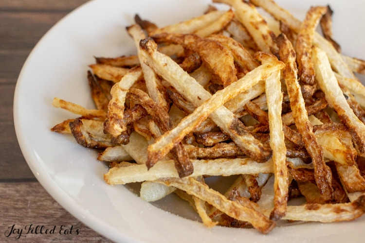 close up of the keto fries made from jicama