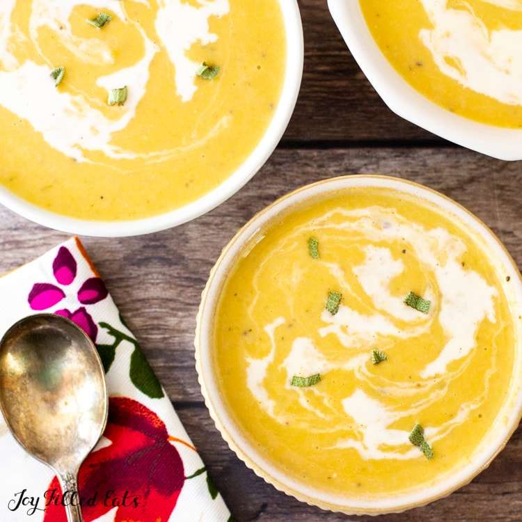 bowls of the keto butternut squash soup