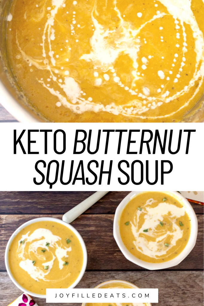 pinterest image for keto butternut squash soup