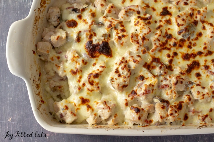 the baked keto chicken marsala in a casserole baking dish